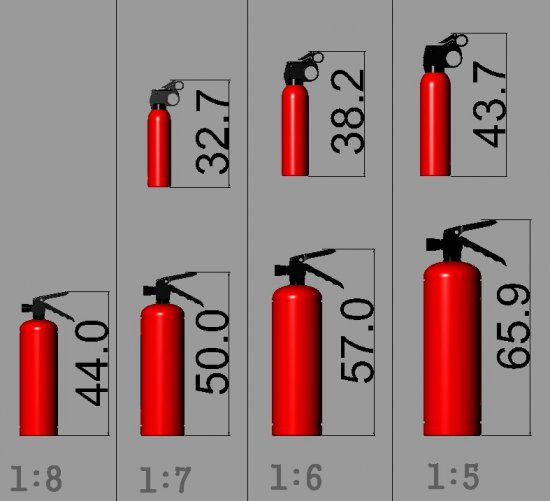 Scale Fire Extinguisher 7 Sizes - Click Image to Close